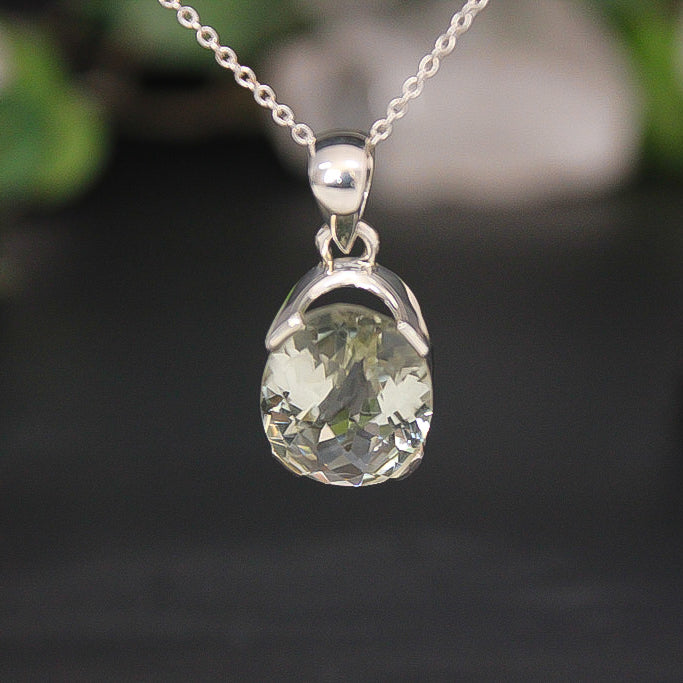 Green Amethyst Faceted Oval Pendant 02