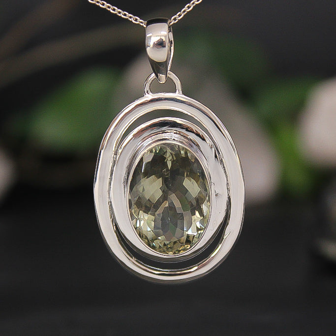 Green Amethyst Faceted Oval Border Pendant 01