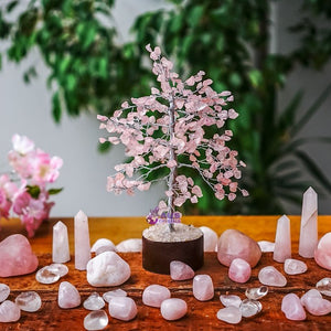 Rose Quartz Tree - Medium Silver
