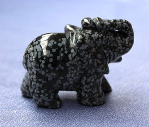 Medium Snowflake Obsidian Elephant