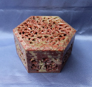 Soapstone Hexagonal Box Large