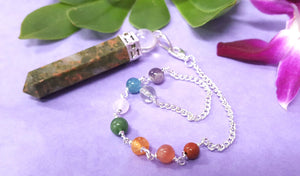 Unakite Ball Point Chakra Pendulum