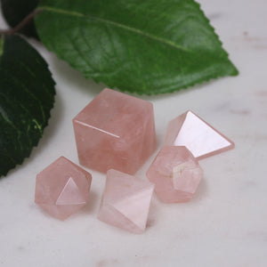 Rose Quartz Patonic Solids