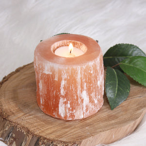Peach Selenite Natural Candle Holder