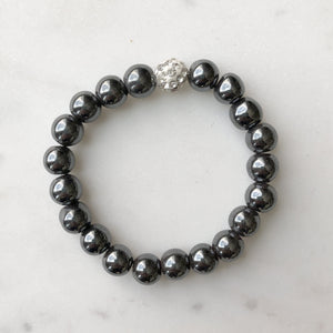 Hematite Bead Bracelet with crystal accent