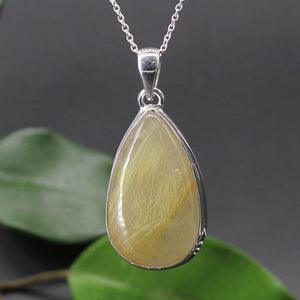 Rutilated Quartz Tear Drop Cabochon Pendant 01