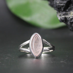 Rose Quartz Marquis Cabochon Ring