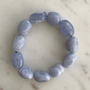 Blue lace Agate Freeform Bead Bracelet