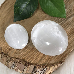 White Selenite Palmstone 1pc