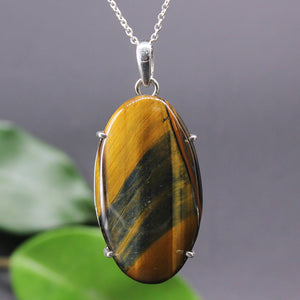 Tiger Eye Oval Cabochon Pendant