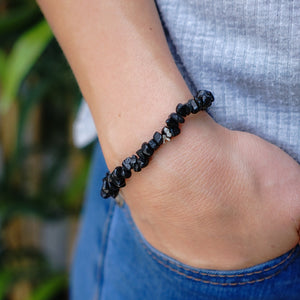 Black Tourmaline Chip Bracelet 5pc Pack