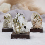 Green Tourmaline in Quartz on Stand