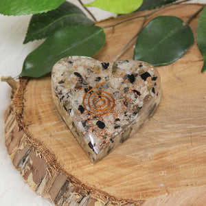 Orgonite  Heart - Moonstone & Blk Tourmaline