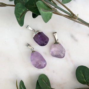 Amethyst Tumbled Pendant 1pc