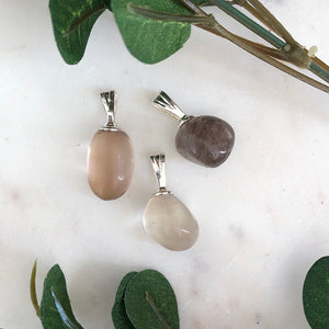 Smokey Quartz Tumbled Stone Pendant 1pc