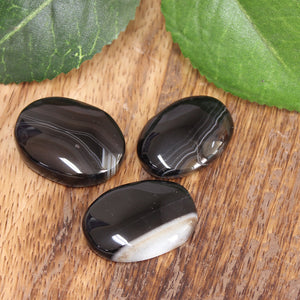 Black Agate Palm Stone 1pc