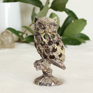 Soapstone Owl Side Face - Tall