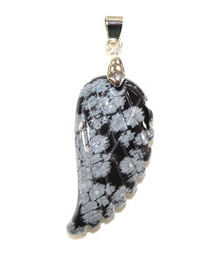 Wing Snowflake Obsidian Pendant