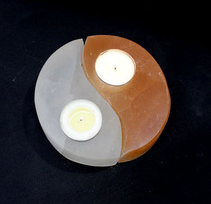 Selenite Yin/Yang Candle Holder