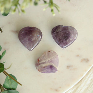 Chevron Amethyst Heart Small 1pc