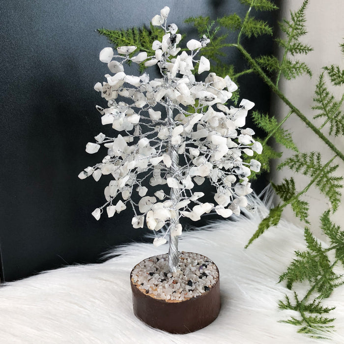 Rainbow Moonstone Crystal Tree - Medium Silver