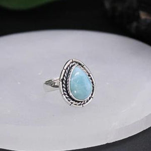 Larimar Tear Drop Cabochon Ring 01
