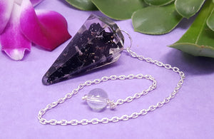 Orgonite Black Tourmaline Faceted Pendulum