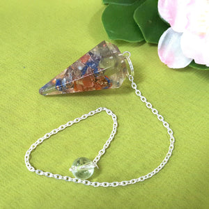 Orgonite Mix Crystal Faceted Pendulum