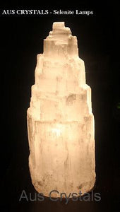Selenite Lamp 25-30cm - Warm Light