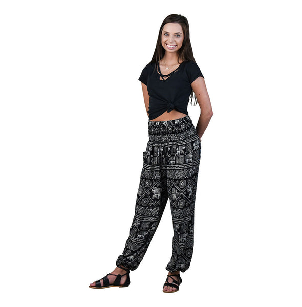 Diamond Black Harem Pants on Model