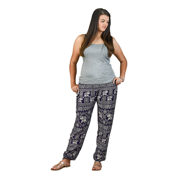 Diamond Eggplant Harem Pants on Model