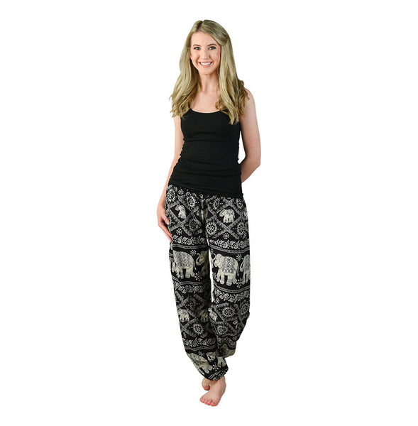 Sherri Black Harem Pants on Model