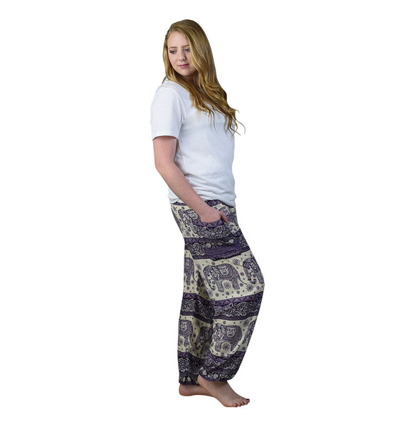 Caira Eggplant Harem Pants on Model