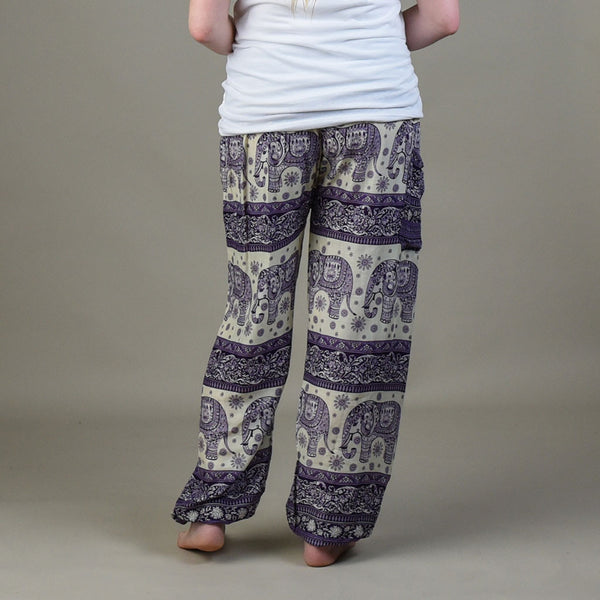 Caira Eggplant Harem Pants Rear View