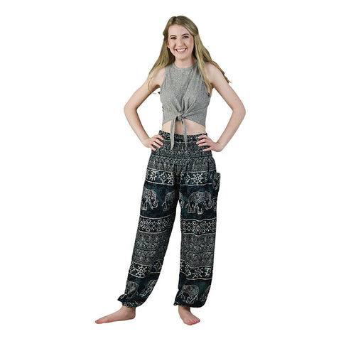 Teddy Black Harem Pants on Model