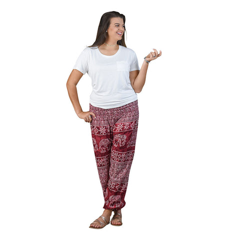 Teddy Cherry Harem Pants on Model