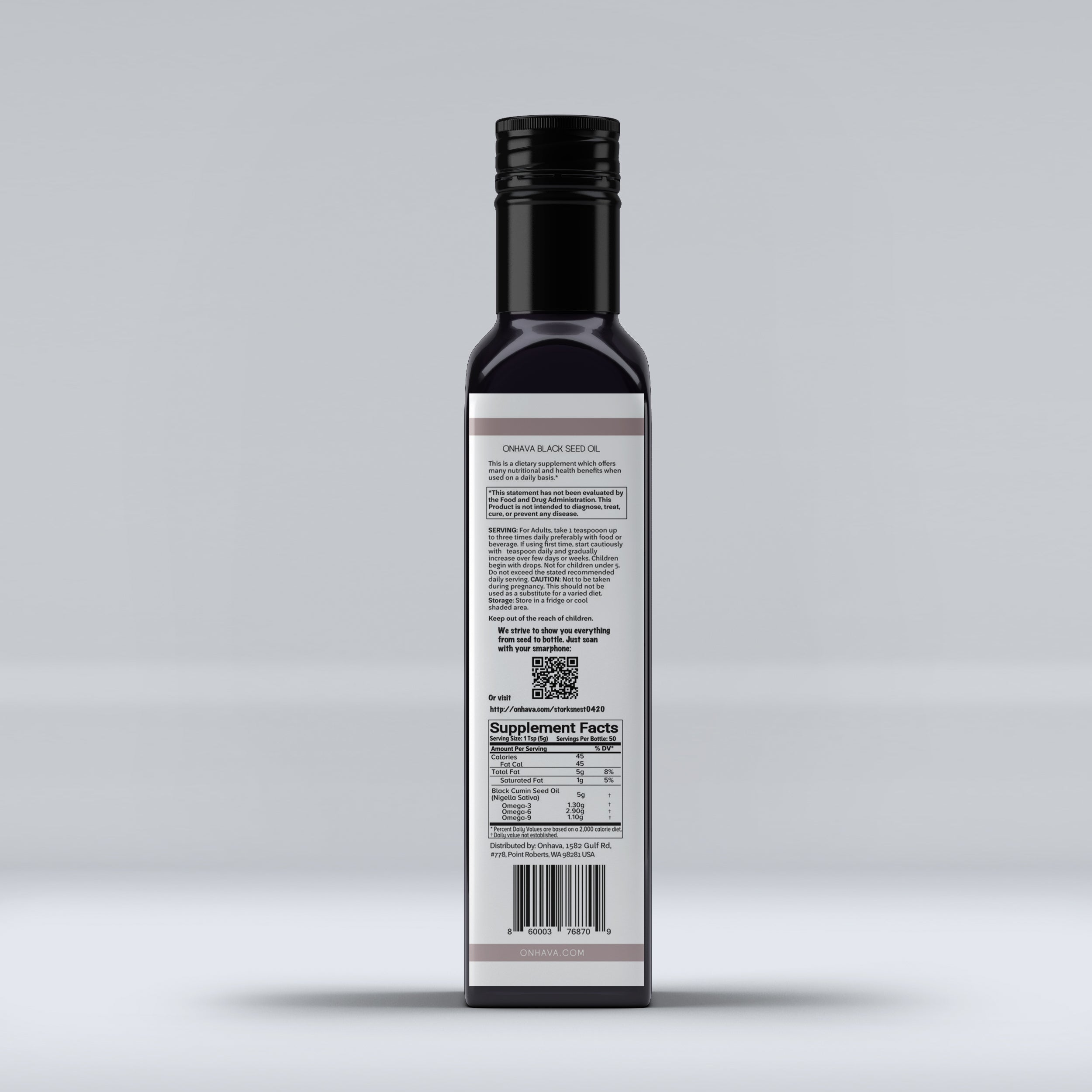 Black Seed Oil From Cold-Pressed Nigella Sativa Seeds with batch reports attesting its purity and potency. 8 oz  250 ml