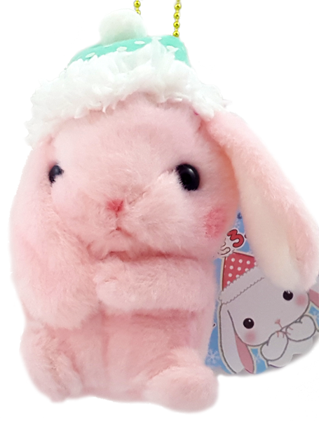 AMUSE Pote Usa Loppy Pink Bunny Plush with Ball Chain
