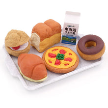 Iwako Bakery Erasers Unboxed Detail with Bread Loaf and Pizza
