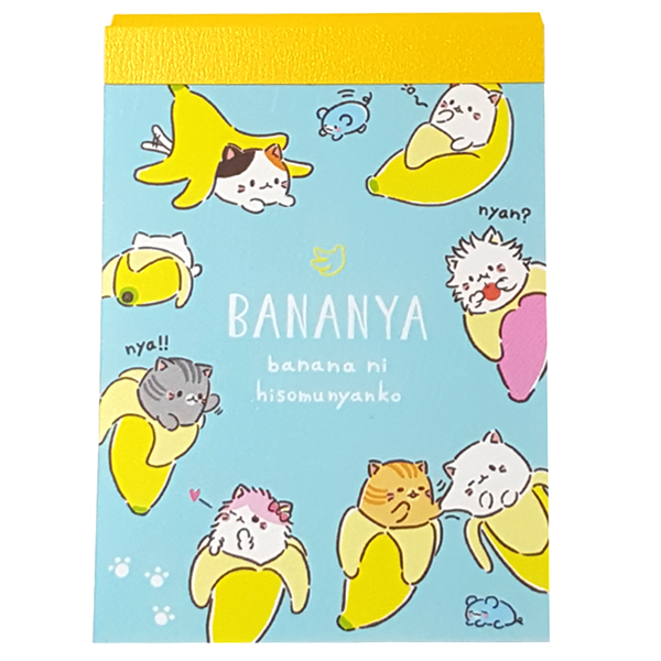 Q-LiA Bananya Mini Blue Notepad