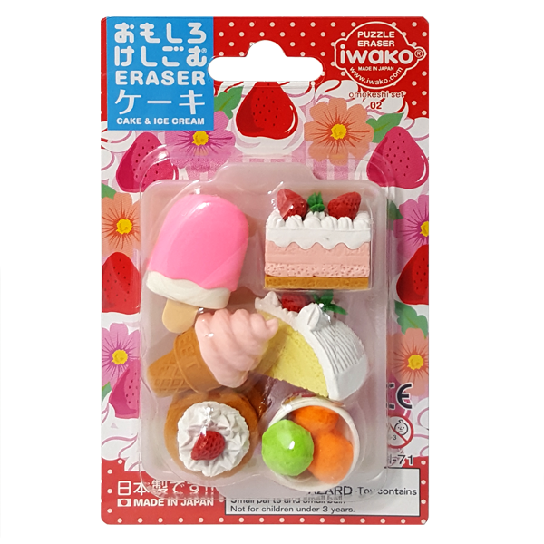 Iwako Cake and Ice Cream Puzzle Erasers Omokeshi Set 02