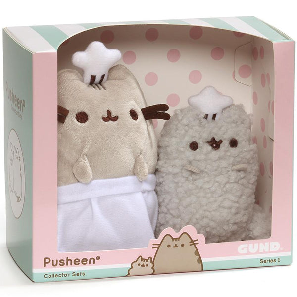 Pusheen and Stormy Plush Toys with Baking Apron and Chef Hat