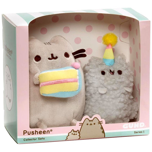Pusheen and Stormy Plush Toys with Birthday Cake and Hat