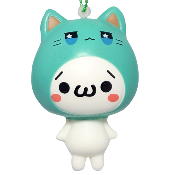 Emoji Cat Teal Hoody Squishy  ぷにぷにネコ