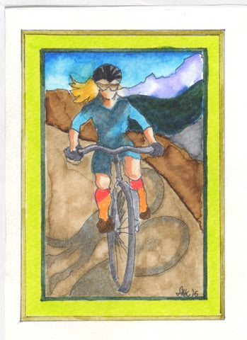 card of Alix mountain biking, made by mom