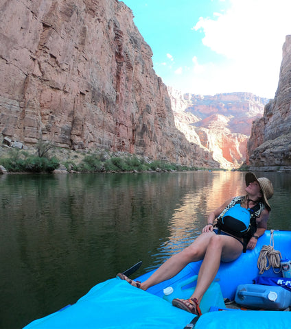 Keitha on the Grand Canyon, wearing up-cycled rubber lace adventure jewelry created by ABD culture.