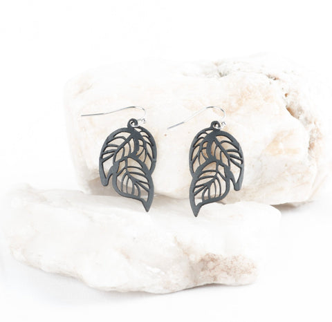 tiny tropical leaf earring