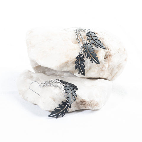 small triple feather earring