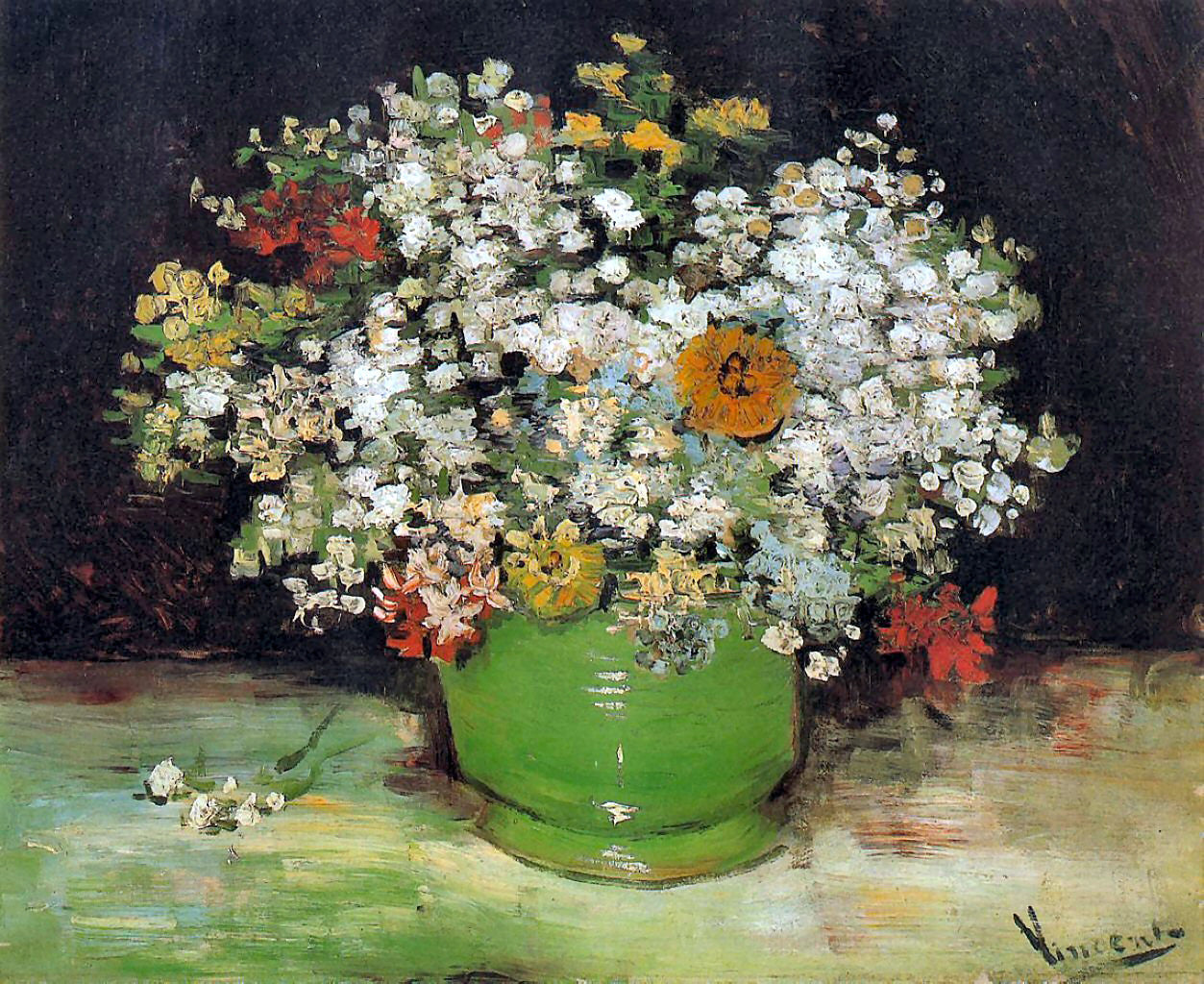 Vase with Zinnias and other Flowers by Vincent Van Gogh & Vase with Zinnias and other Flowers by Vincent Van Gogh - Bosak Art