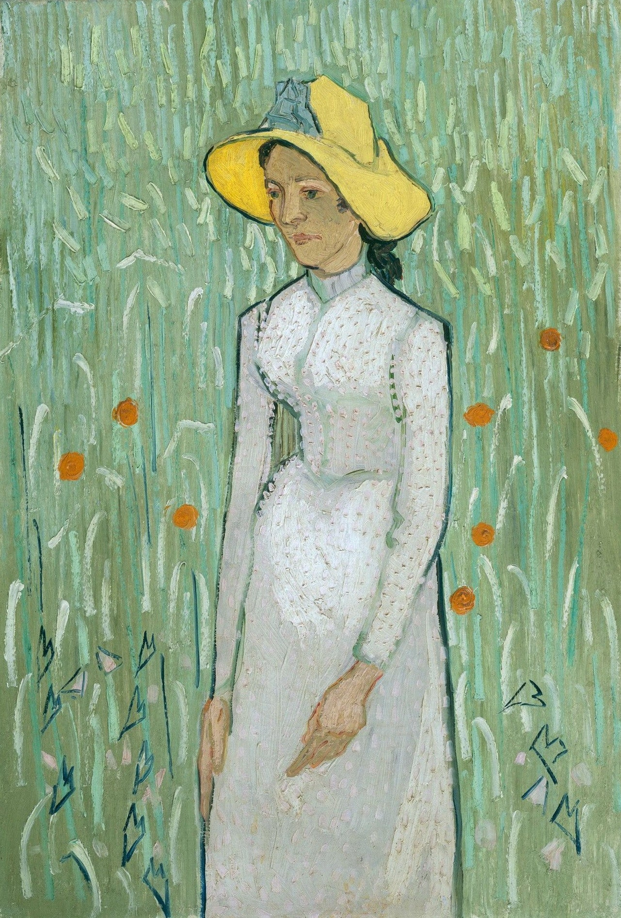 Young Girl, Standing In Front Of A Wheat Field By Vincent Van Gogh